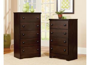 CHESTS 4 DRAWER CHEST WITH ROUND KNOBS IN A COFFEE FINISH,Standard