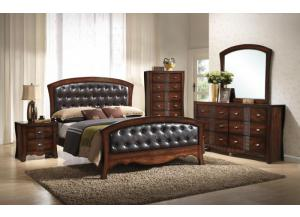JENNY QUEEN PANEL BED WITH UPHOLSTERED HEADBOARD AND FOOTBOARD,Elements International