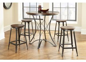Adele 5 Piece Round Counter Height Dining Table Set - Wood & Metal BY STEVE SILVER,Steve Silver